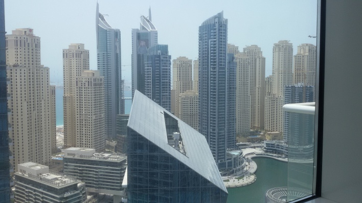 My view from a 45th floor at Dubai Marina