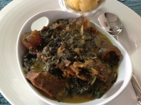 Bitter leaf soup and garri