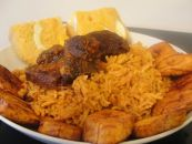 Party Jollof rice with plantain and moin-moin