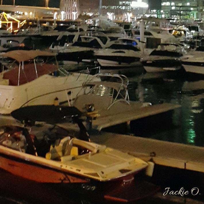 A flotilla of boats at the marina.