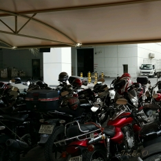 A group of motorcycles.