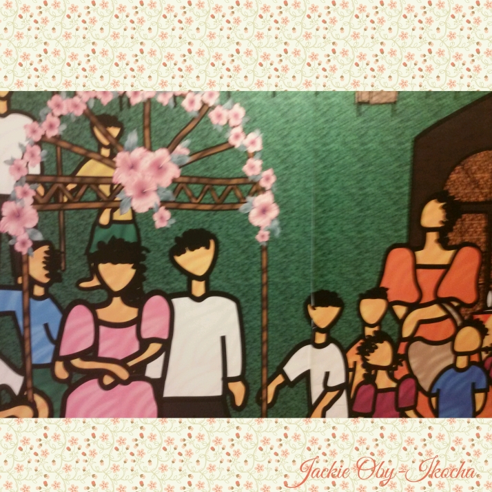 Large mural of a wedding party. It couldn't fit on my screen.
