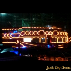 A well lit Dhow passing in the night