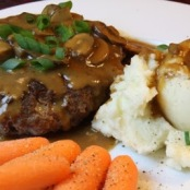 Mashed Potatoes, steak and mushroom sauce
