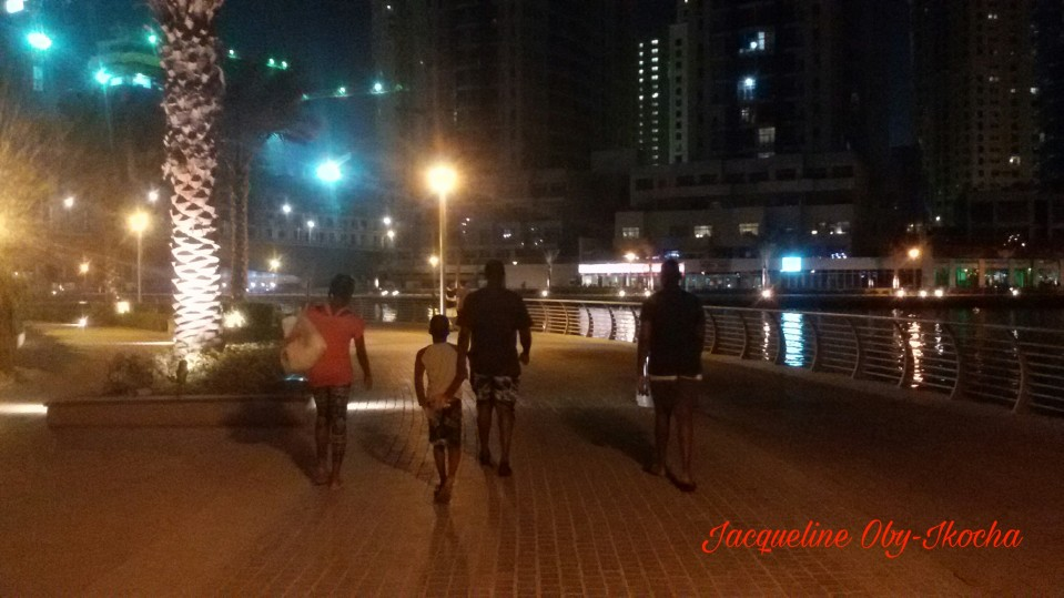 Walking home after an evening's stroll.
