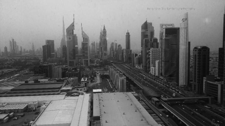 Sheikh Zayed Road, Dubai, Twin Towers, Monochrome