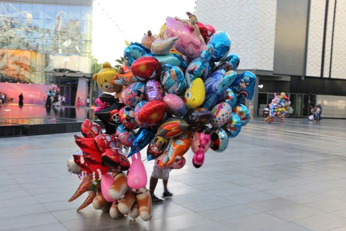 Inflated balloons, helium balloons, colourful
