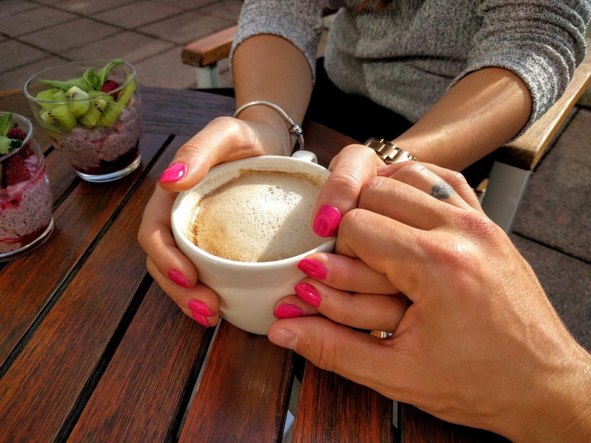 coffee, conversation, holding hands