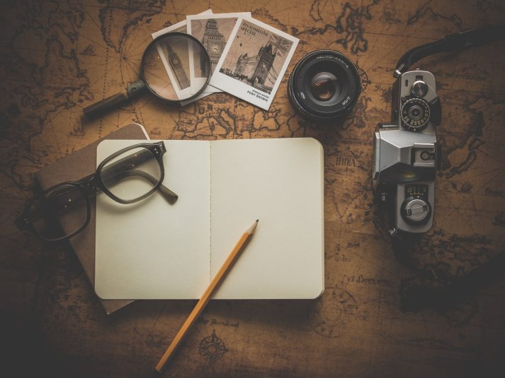 Camera, Blank, Black, Glasses, Notepad, Photos, Film, Map