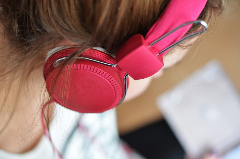 Person, woman, pink, headphones