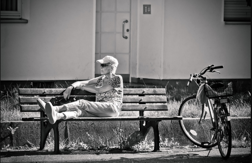 Senior-Woman-Monochrome-Bicycle-Sitting-Aged-Bank-Relaxing