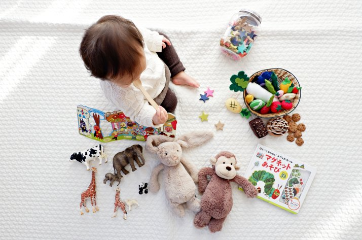 Charming Girl, Baby, Play Time, Toys