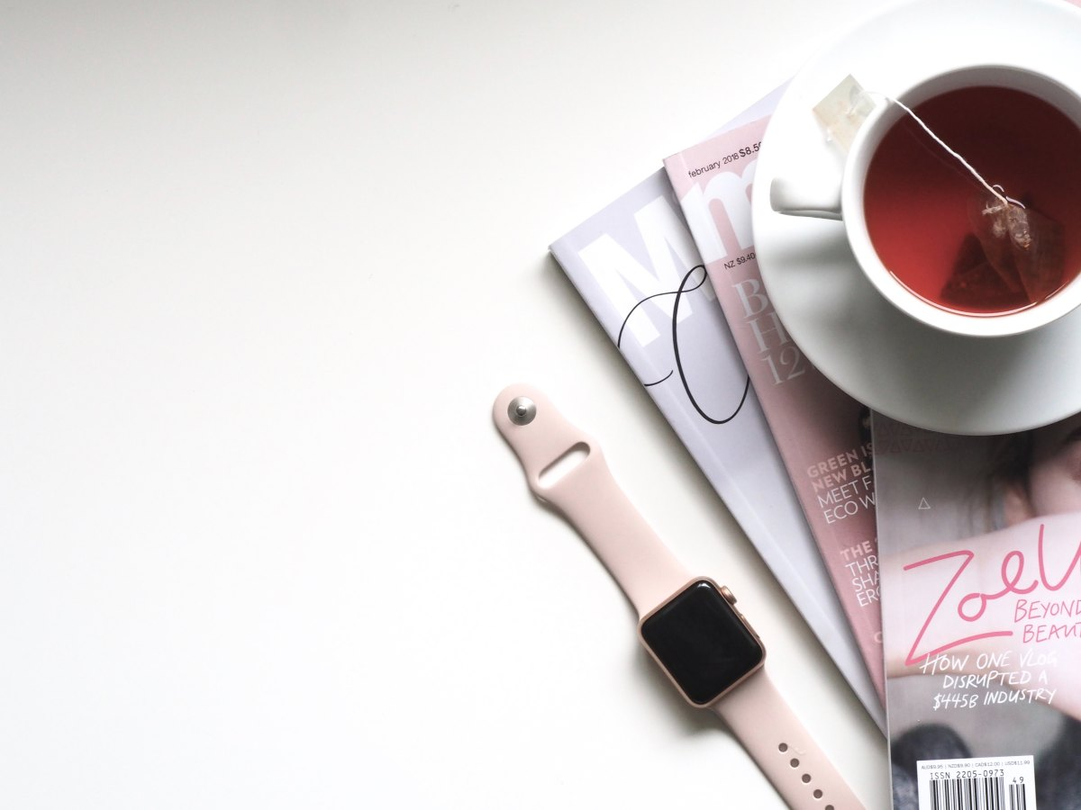 Flatlay, Drink, Tea, Magazines, Relaxing, Blogging, Cup, Wrist-watch