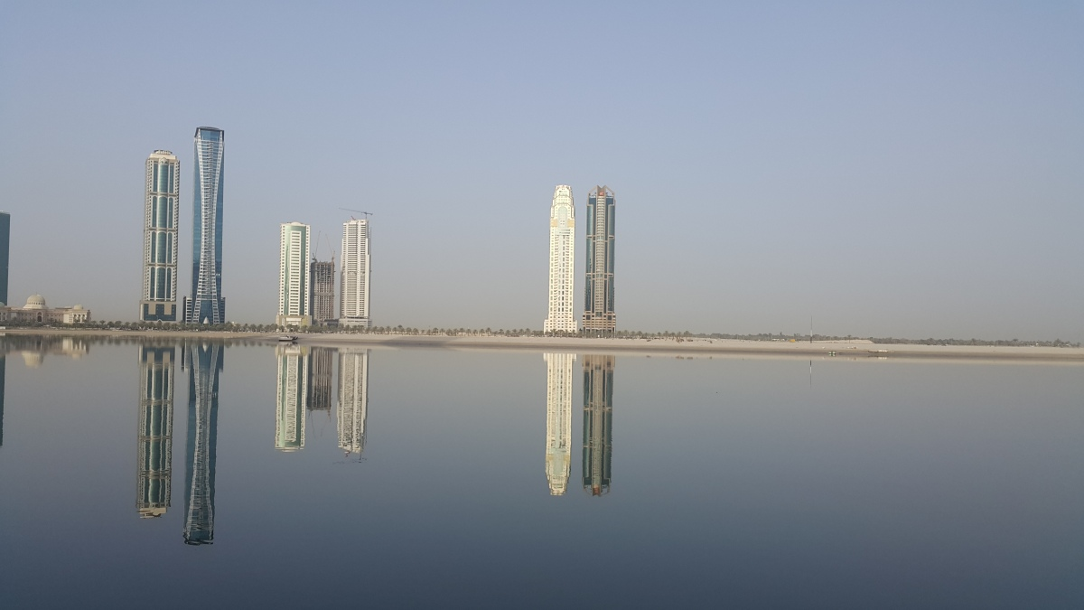 Architecture, UAE, Towers, Reflection